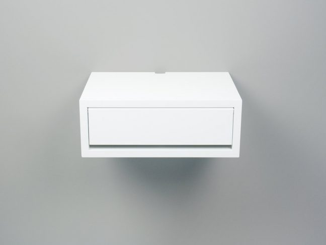 Devon Modern White Floating Nightstand, Small Wall Mount Side Table