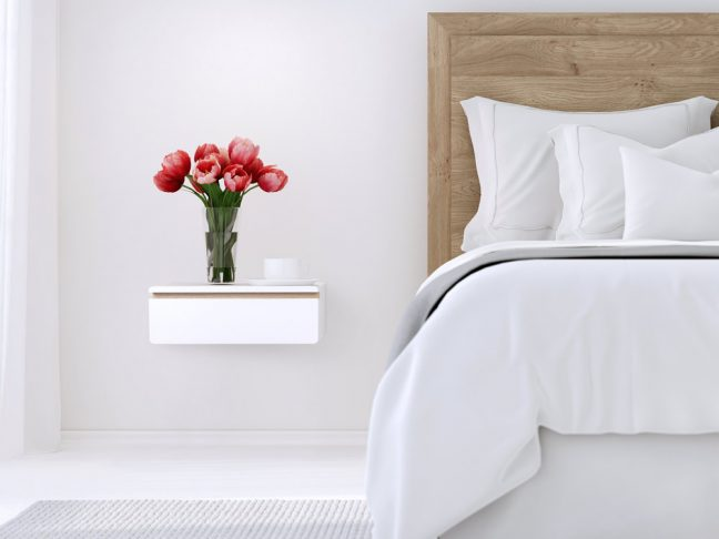 Sleek floating nightstand drawer, white bedside table, wall mount night stand