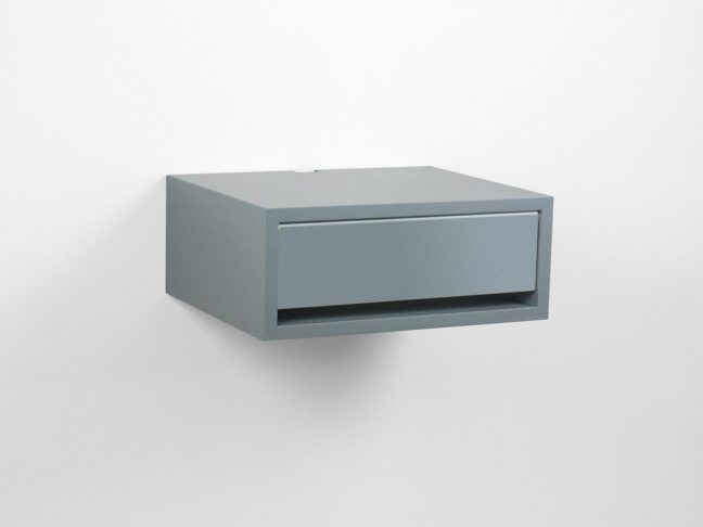 Contemporary Gray Floating Nightstand Drawer Gray Door