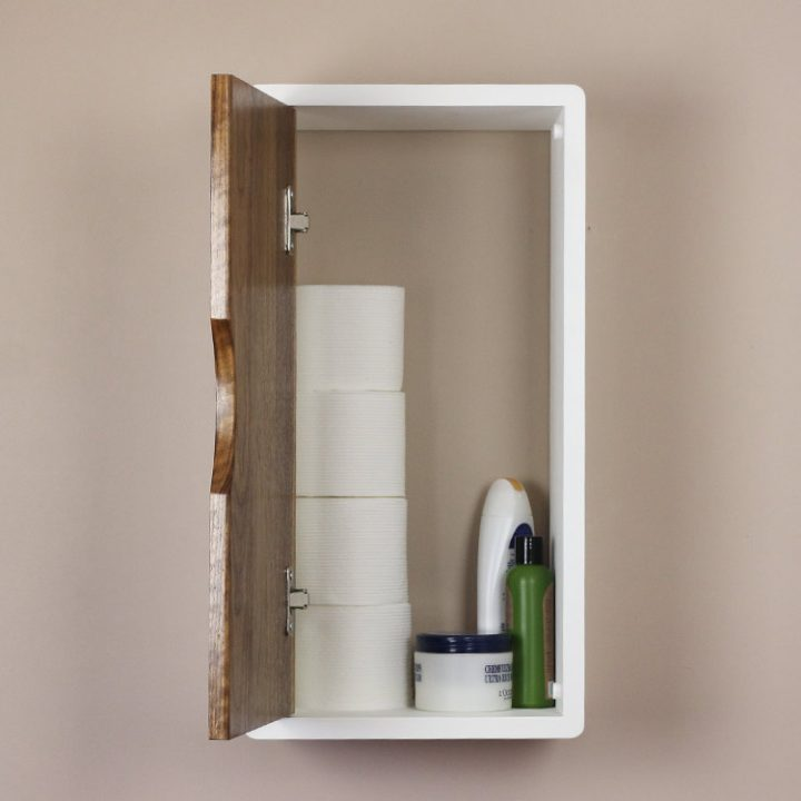 white floating cabinet