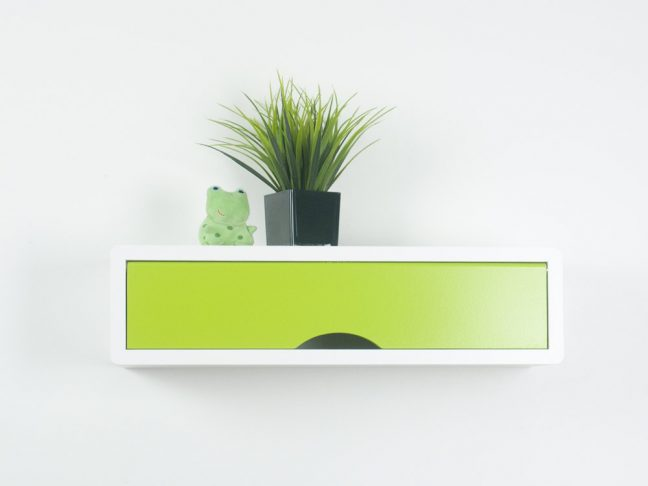 Laser Contemporary Floating Shelf with Colorful Door, White Wall Cabinets