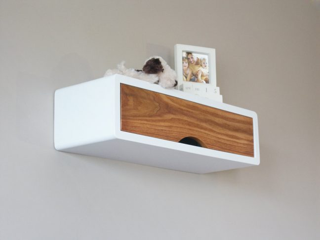 Denali Mid Century Modern Floating Shelf Storage, Retro Style Wall Cabinet