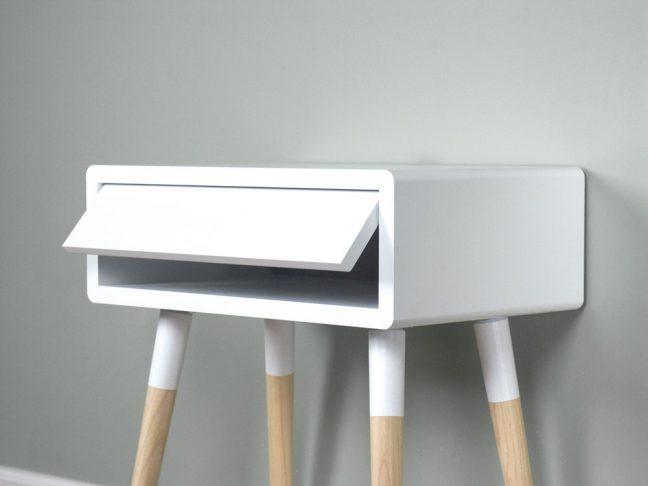 Scandinavian Design Nightstand Table, White