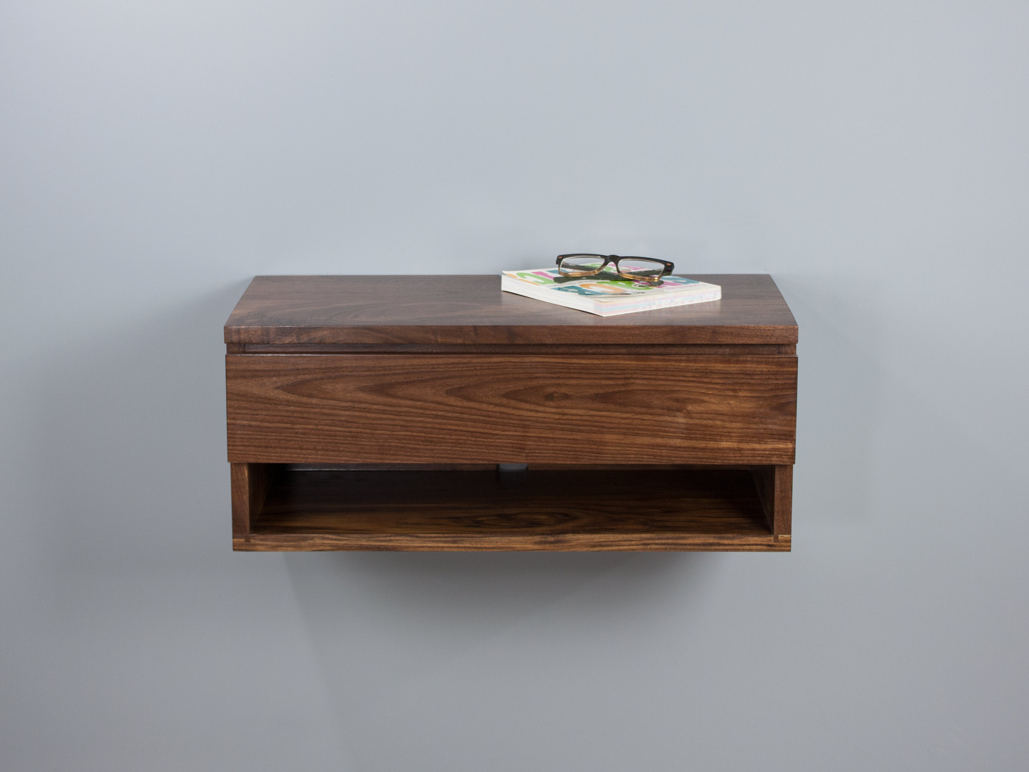 Walnut floating nightstand drawer shelf